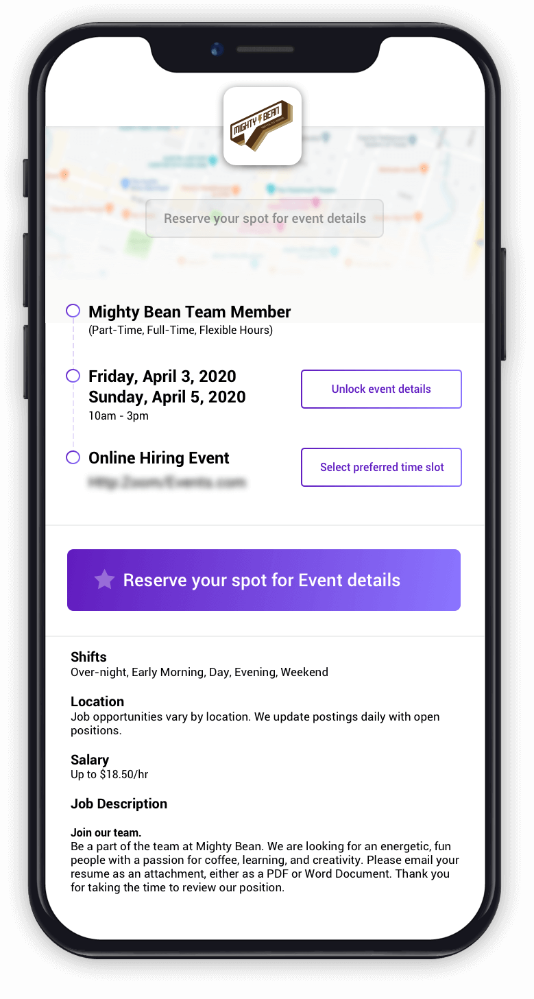 screenshot of Talroo Events signup on mobile phone