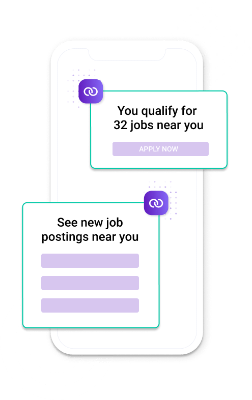 Job notifications on cell phone.